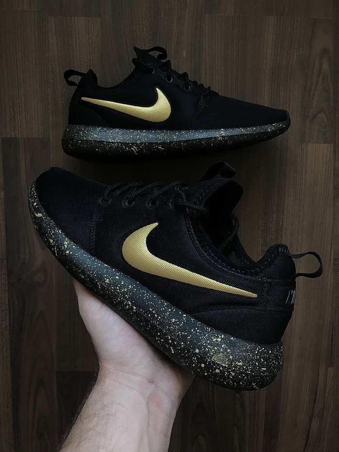 hot sales 7267a 1aa50 Nike Roshe Run Black with Custom Gold Swoosh and Splatter So