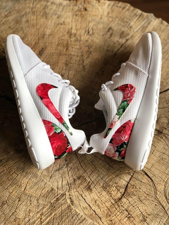White Nike Roshe Custom Red Pink Floral Print  65ceacc8b