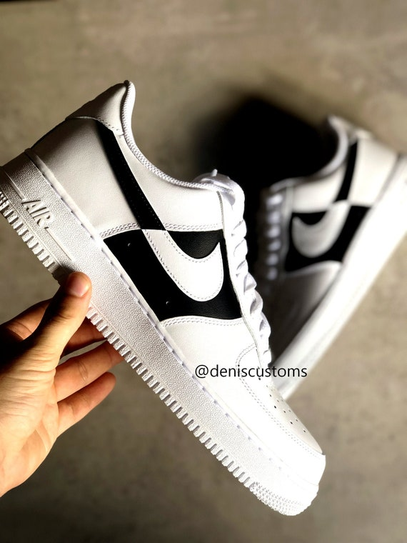 Nike Air Force 1 with Black White Reverse Custom Design