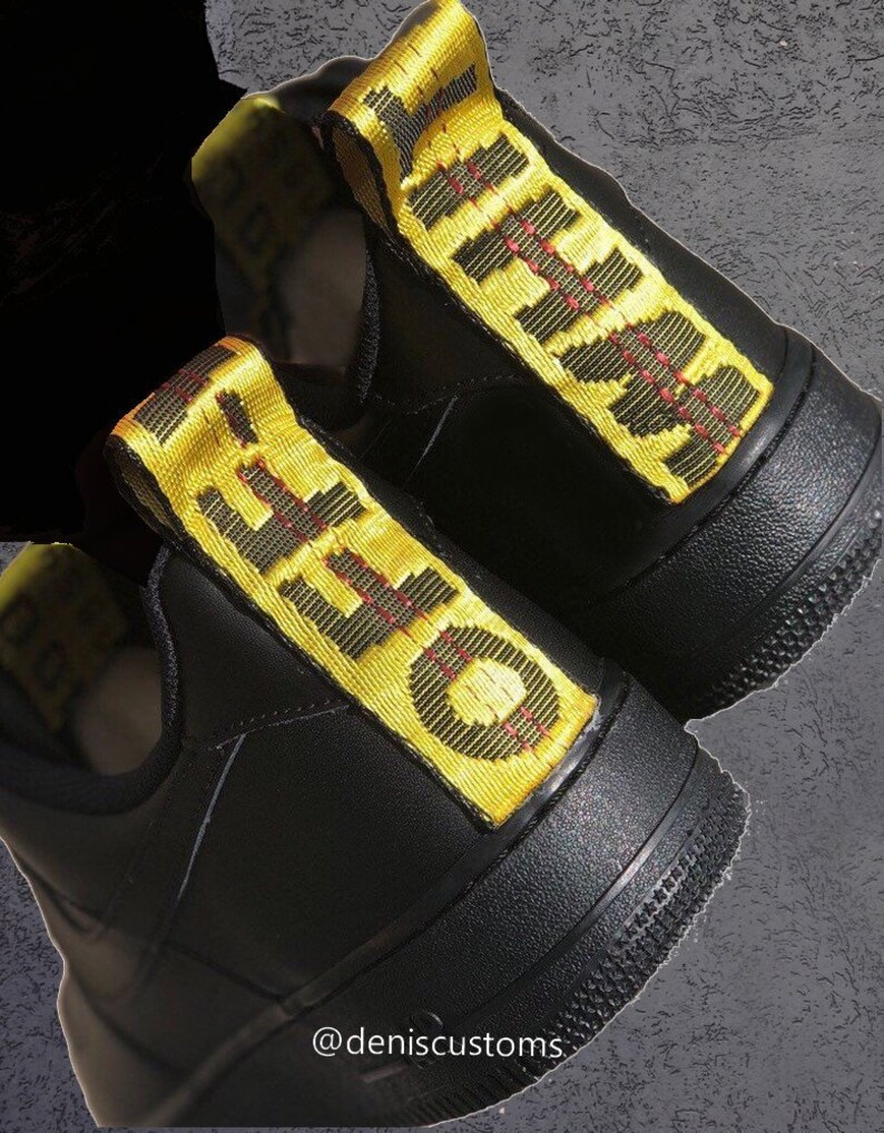 Off White Nike Air Force 1 Black Yellow Strap Custom