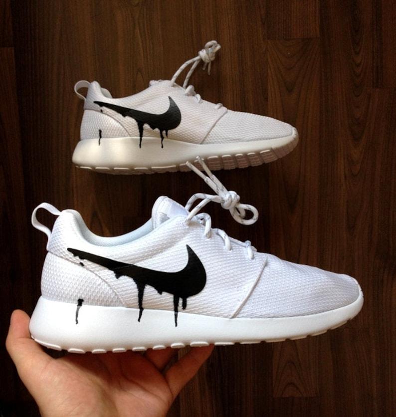 Nike Roshe White with Custom Black Candy Drip Swoosh Paint  a320974ca