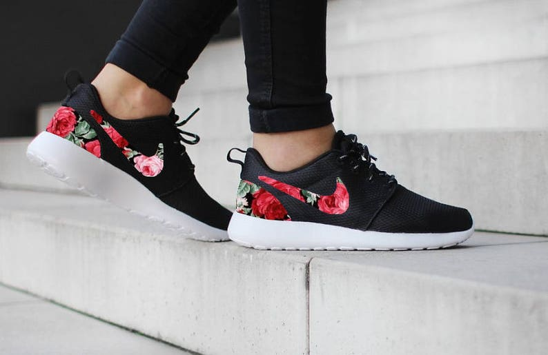 7198c505f87e Nike Roshe One Black with Custom Red Rose Floral Fabric Design