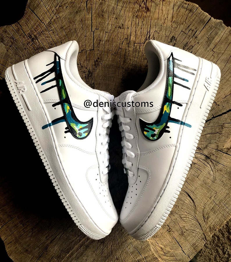 6ccef42e8db65 Nike Air Force 1 Low with Color Camo and Black Drip Design