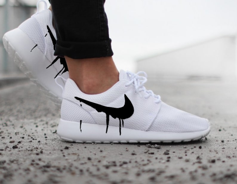 5382b6f5cbfd Nike Roshe White with Custom Black Candy Drip Swoosh Paint
