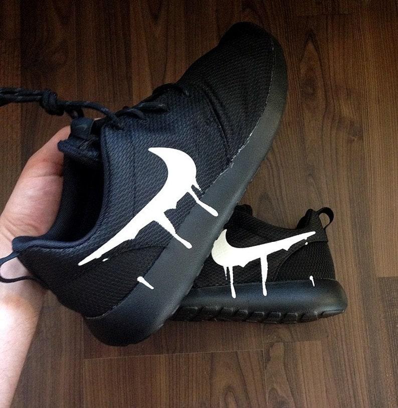 Nike Roshe Triple Black with Custom White Candy Drip Swoosh  4d8844614