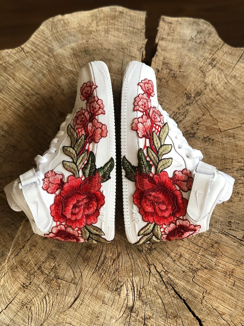 6d79093ab8834 Nike Air Force 1 Mid White with Rose Floral Embroidered