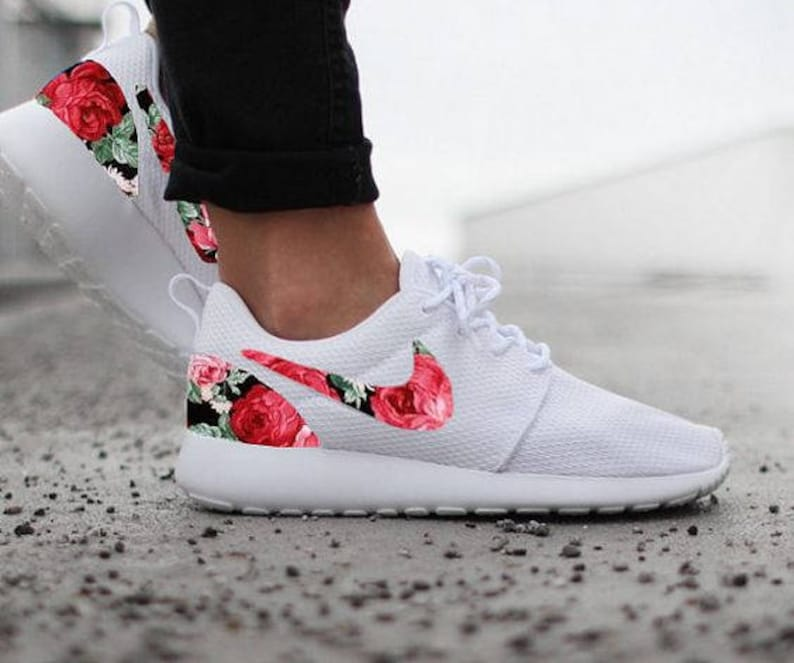 93fc867ee Nike Roshe Run Womens White with Custom Black Pink Rose Floral