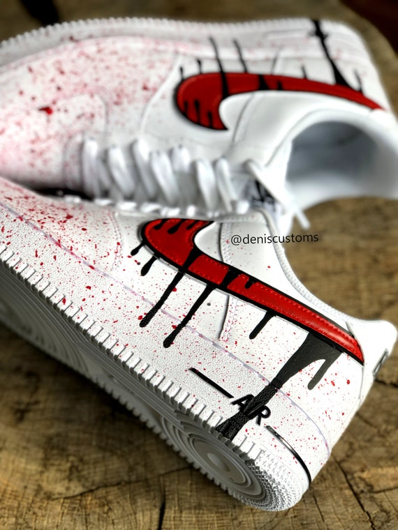 Nike Air Force 1 Low with Red Black Blood Drip Design