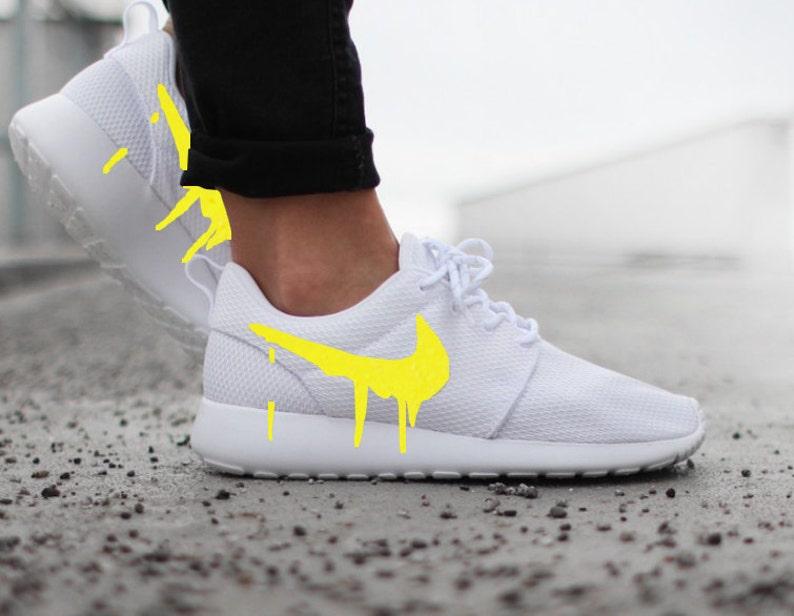 Nike Roshe White with Custom Yellow Candy Drip Swoosh Paint  de37ec625