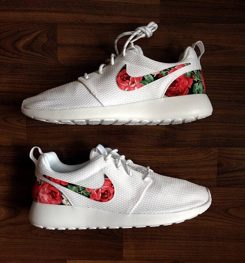1cd8b39b075e Nike Roshe Womens White Custom Red Pink Floral Design Fabric