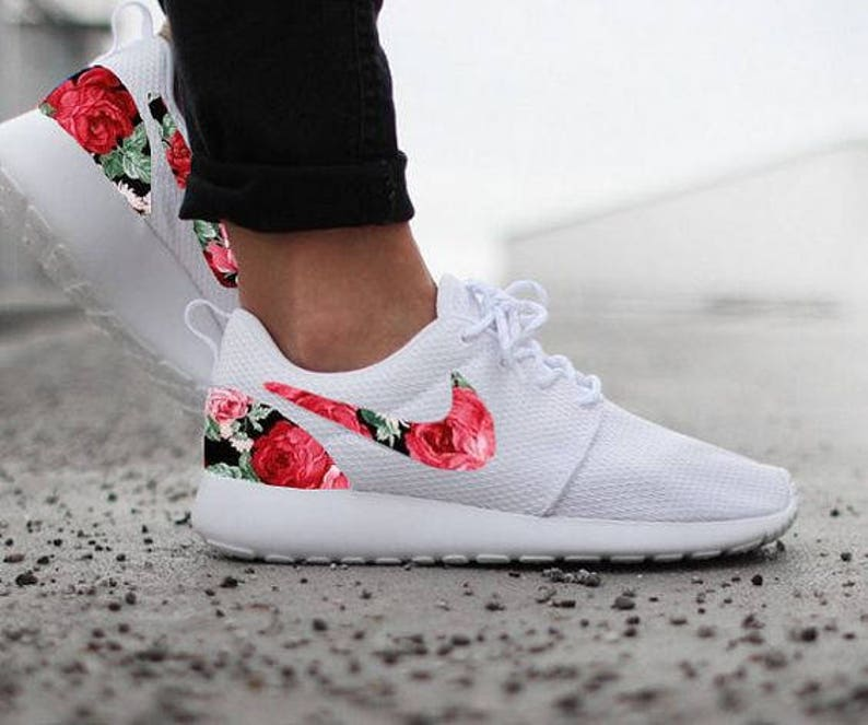 new style 451d4 1f9eb Nike Roshe Womens White Custom Red Pink Floral Design Fabric   Etsy