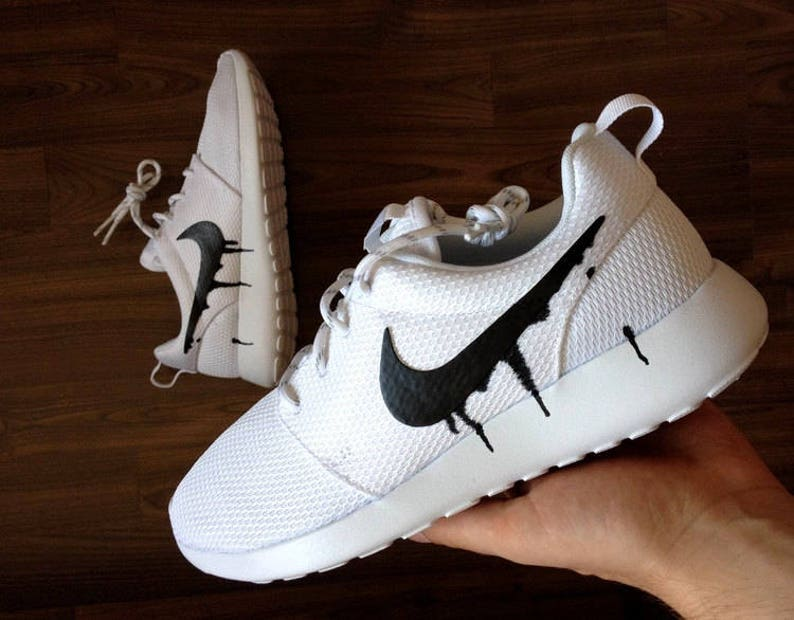 8a07ce68caf2 Nike Roshe White with Black Candy Drip Swoosh Paint