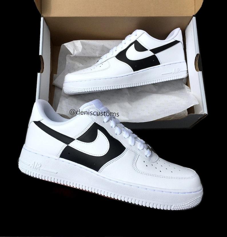 21214e054270c Nike Air Force 1 with Black White Reverse Custom Design