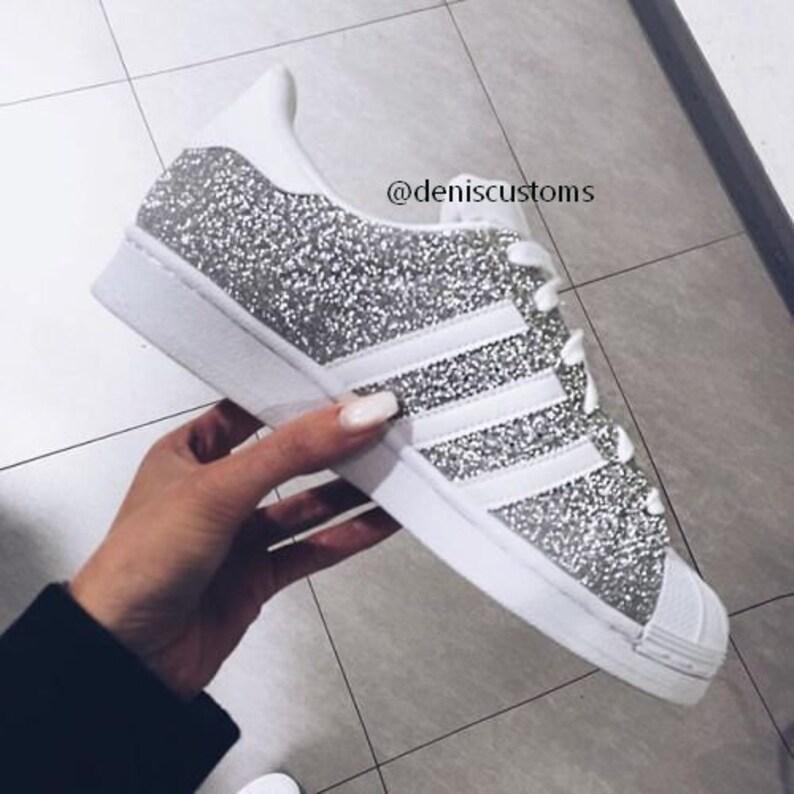 Adidas Superstar Sneakers in Silber Glitzer Silver Glitter