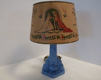 Stangl Colonial Blue Children's Lamp #3119, Snow White and Prince Charming, 1937 Exclusive