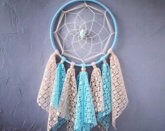 Beige Light Turquoise Dream Catcher, Medium Dreamcatcher, nursery decor, lace dreamcatchers, wall decor, wall hanging, baby room,  handmade