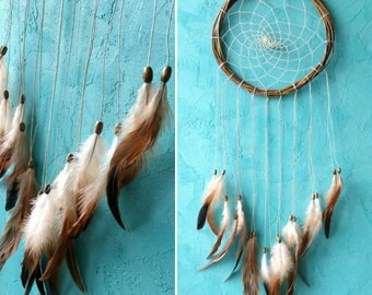 Brown Beige Dream Catcher, rustic large dreamcatcher, bedroom decor, boho style, wall hanging, wall decor, handmade dreamcatcher
