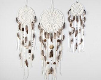 Set of 3 Cream Dream Catcher, Crochet Doily Dreamcatcher, boho dreamcatchers, wall hanging, wall decor, wedding decor, handmade