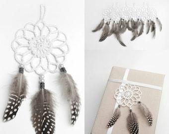 Set of 6 Mini  dream catchers packaging decor gift wrapping white dreamcatcher crochet doily dream catcher boho dreamcatchers wedding decor