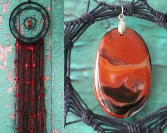 Large Black Red Dream Catcher boho dreamcatchers wall hanging wall decoration interior decor handmade dreamcatcher, agate