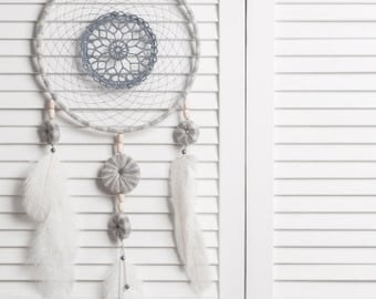 Beige Gray Dream Catcher Crochet Doily Dreamcatcher large dreamcatcher boho dreamcatchers wedding decor wall hanging wall decor