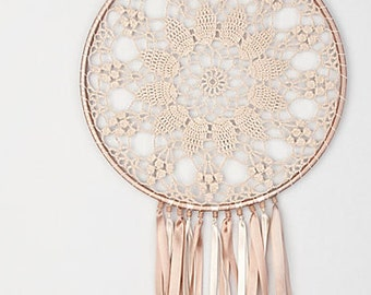 Large Beige Dream Catcher, Crochet Doily Dreamcatcher, boho dreamcatchers, sweet dreams, wall hanging, wall decor, wedding decor, handmade