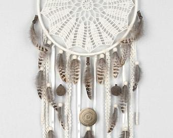 Large Cream Dream Catcher, Crochet Doily Dreamcatcher, boho dreamcatchers, wall hanging, wall decor, wedding decor, handmade