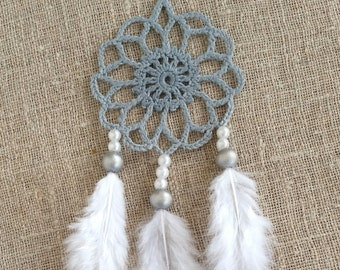 Mini gray white dream catcher car dreamcatcher crochet doily dream catchers feathers boho dreamcatcher  wrap packing decor