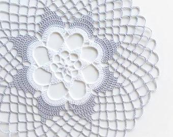 Medium Gray White Crochet Doily, lace doily, home decor, table decoration, handmade, center piece
