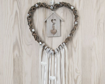 Wedding Decor White Brown Heart  Lace Dreamcatcher Shabby Chic Modern rustic decor wall hanging wall decor shabby home decor