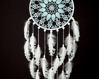 Large Light Blue White Dream Catcher Wedding Decor Nursery Decor Something Blue Crochet Doily Dreamcatcher  boho wall hanging wall decor