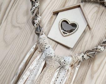 Wedding Decor White Beige Heart  Lace Dreamcatcher Shabby Chic Modern rustic decor wall hanging wall decor shabby home decor