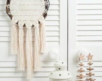 Brown Cream Dream Catcher,  doily rustic medium dreamcatcher, bedroom decor, boho style, wall hanging, wall decor, handmade dreamcatcher