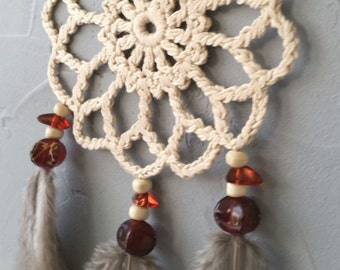 Mini Beige Dream Catcher car dreamcatcher crochet doily dream catchers feathers boho dreamcatcher wrap packing decor