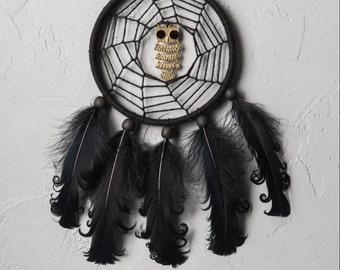Black Dream Catcher, Small Dreamcatcher, owl, car dream catcher, boho dreamcatchers, wall decor, wall hanging, handmade, halloween decor