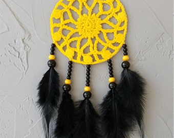 Yellow black dream catcher car dreamcatcher crochet doily dream catchers black feathers boho dreamcatcher  wrap packing decor