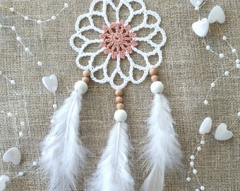 Mini white pink dream catcher car dreamcatcher crochet doily dream catchers feathers boho dreamcatcher wedding decor wrap packing decor