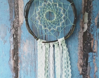 Brown Mint White Dream Catcher, rustic medium lace dreamcatcher, bedroom decor, boho, wall hanging, wall decor, handmade dreamcatcher