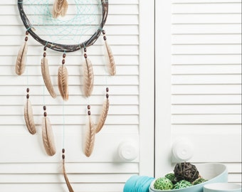 Turquoise Brown Dream Catcher, rustic large dreamcatcher, bedroom decor, boho style, wall hanging, wall decor, handmade dreamcatcher