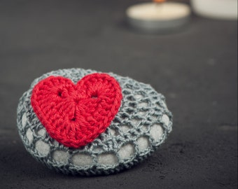 Gray and Red Heart Crochet Covered Stone,Valentine's Day, Lace Stone, Paperweight, Home Decor, Beach Wedding