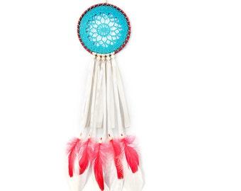 Dreamcatcher, Blue Red Creame Dream Catcher, Crochet dreamcatcher, Doily Dream Catcher, boho dreamcatcher, wall hanging, handmade