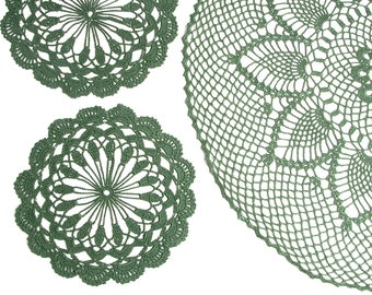 Set of Crochet Doily and 8 coasters, green doily, coacter, lace doily, home decor, table decoration, handmade, center piece