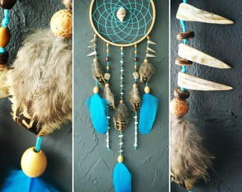 Turquoise Dream Catcher, Sea dreamcatcher, Something Blue, Wedding decor, boho style, wall hanging, wall decor, handmade dreamcatcher