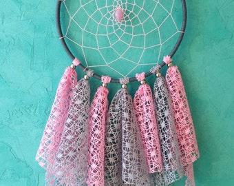 Pink Gray Dream Catcher, Medium Dreamcatcher, nursery decor, lace dreamcatchers, wall decor, wall hanging, baby room, for girl, handmade