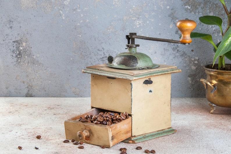 food photography props vintage coffee mill vintage coffee grinder kitchen decor metal wood coffee grinder Old coffee grinder