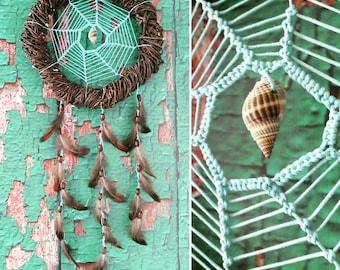 Brown Turquoise Dream Catcher, medium dreamcatcher, bedroom decor, boho style, wall hanging, wall decor, handmade dreamcatcher