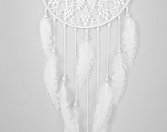 White Dream Catcher Large Dreamcatcher Crochet Doily Dreamcatcher white feathers boho dreamcatchers wall hanging wall decor wedding decor