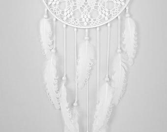 White Dream Catcher Large Dreamcatcher Crochet Doily Dreamcatcher white feathers boho dreamcatchers wall hanging wall decor wedding decor