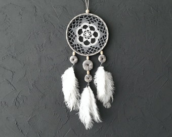 Gray White Beige Blue Dream Catcher Crochet Doily Dreamcatcher medium dreamcatcher boho dreamcatchers wedding decor wall hanging wall decor