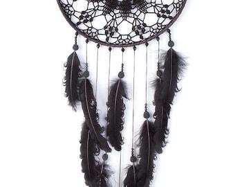 Large Black Dream Catcher, Crochet Doily Dreamcatcher, large dreamcatcher, feathers, boho dreamcatchers, wall hanging, wall decor, handmade